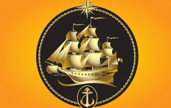 Gold Sailboat - vector gratuit #176069