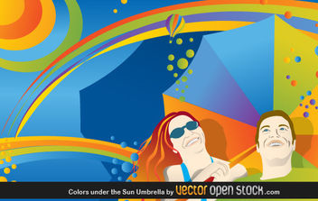 Colors Under the Sun Umbrella - vector gratuit #176149