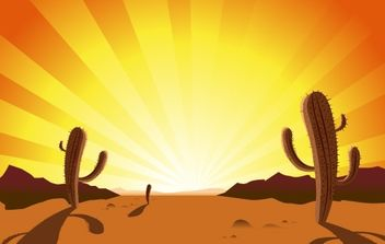 CACTUS IN DESERT SUNRISE - бесплатный vector #176439
