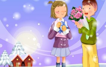 Christmas card with a girl and boy - Free vector #176649