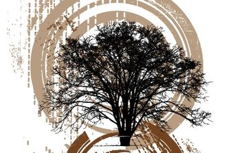 Silhouette of tree on grunge background - Free vector #177209