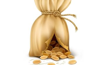Cracked sack wired by rope with wheat corn - Free vector #177369