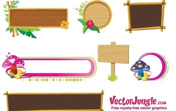 Wood banners and frames free vector - Free vector #177799