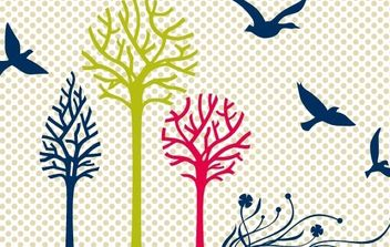 New free vector set: birds & trees - бесплатный vector #178769