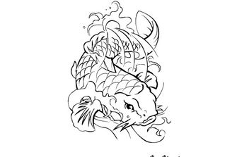 Coi Fish - Tattoo - Free vector #179159