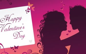 Purple Happy Valentine's day greeting card - vector gratuit #179419