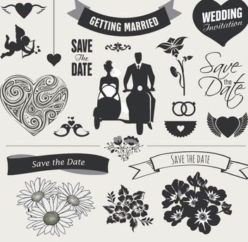 Wedding Element Graphic Set - Free vector #179469