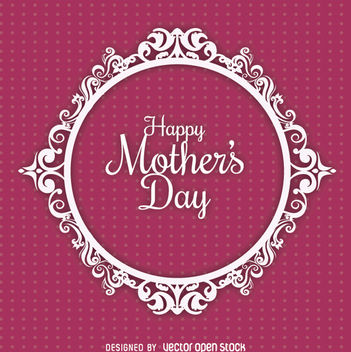 Mother's Day circle ornament card - vector #179479 gratis