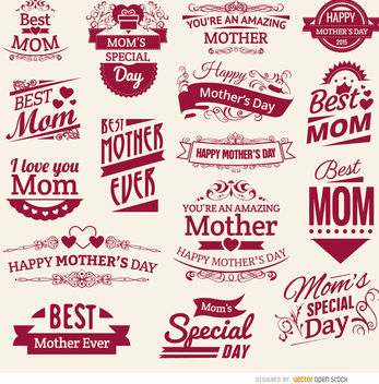 16 Mother's Day vintage badges - vector gratuit #179509