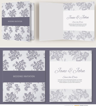 Open gray floral wedding invitation - vector #179529 gratis