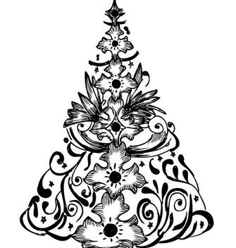 Hand Drawn Floristic Christmas Tree - vector gratuit #179549