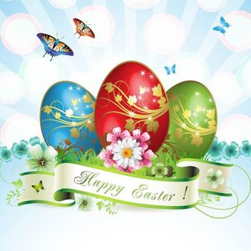 Stunning Easter Card with Butterflies & Eggs - Free vector #179609