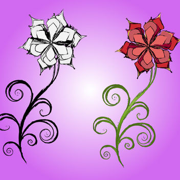 Artistic Spiral Leaf & Swirly Flower - Free vector #179659