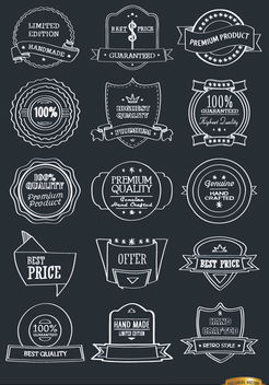 15 hand drawn badges emblems set - бесплатный vector #179739