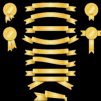Golden Banner and Award Ribbon Pack - Free vector #179759
