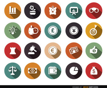 20 Economy circle iconss - vector #179789 gratis