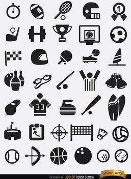 37 Flat sport icons pack - Free vector #179809
