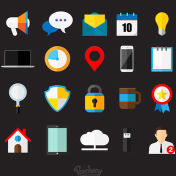 Glossy Flat Business Icon Set - Free vector #179969