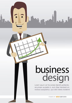 Businessman showing graph skyline - vector gratuit #179999
