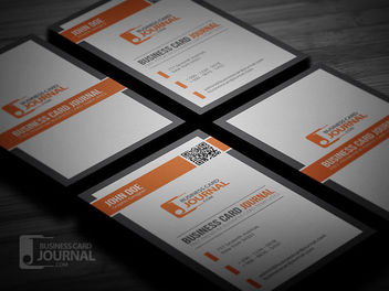 Orange Black QR Code Business Card - Free vector #180029