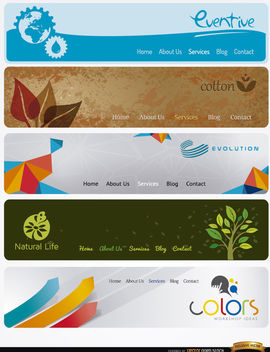 5 Modern website headers with menu - Free vector #180059