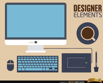 Computer desk work elements - vector gratuit #180089
