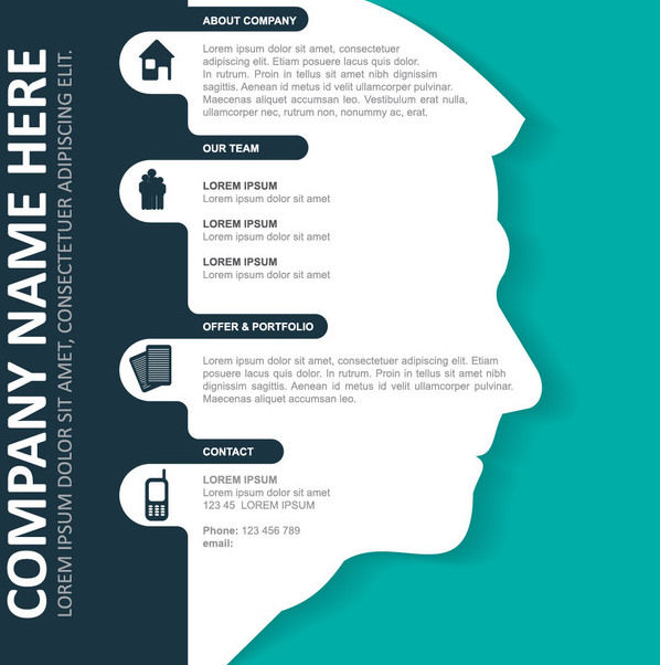 Corporate Infographic Template on Man Face - бесплатный vector #180109