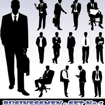 Set of Business Man Silhouette - Free vector #180149