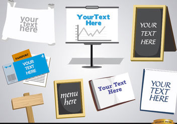 Signs, boards, papers to enter text - Free vector #180159