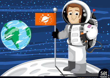 Astronaut with flag in the moon - Kostenloses vector #180209