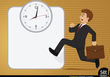 Executive running with clock - vector gratuit #180219