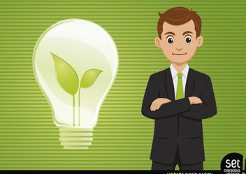 Businessman with Fresh Idea Light Bulb - Free vector #180239