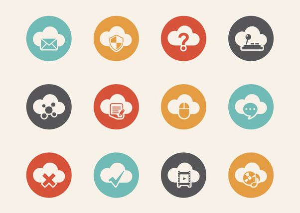 Cloud Computing Retro Icon Set - бесплатный vector #180359