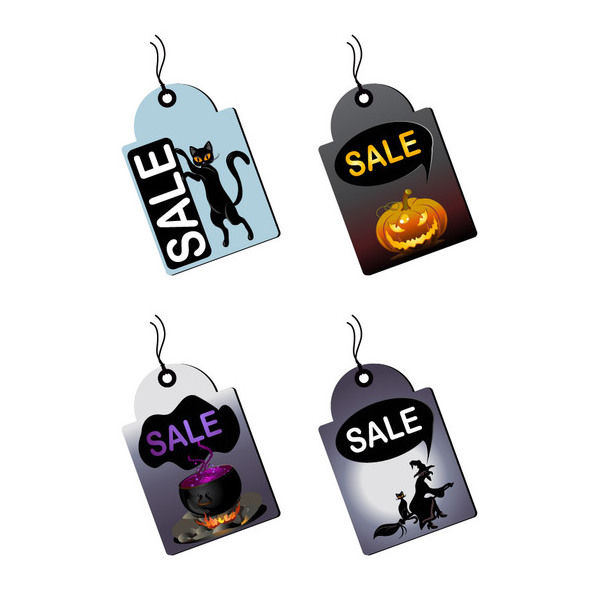 Promotional Halloween Sales Tag Set - Free vector #180449