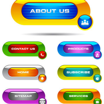 Colorful Glossy Web Button Set - Free vector #180459