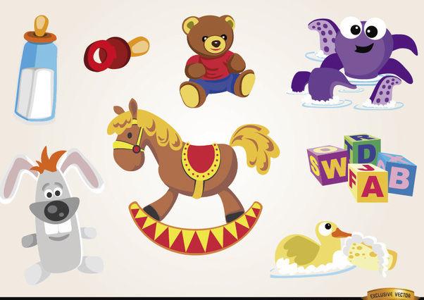 Baby spielzeug und elemente set kostenloser vektor