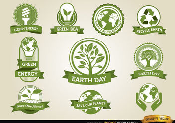 Earth Day Labels - vector #180549 gratis