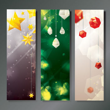 3 Christmas Banners with Diamonds and Stars - vector gratuit #180619