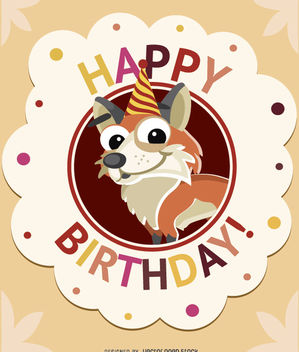 Birthday kids fox card - бесплатный vector #180719