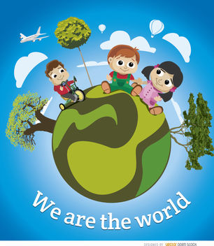 Kids world earth poster - vector #180729 gratis