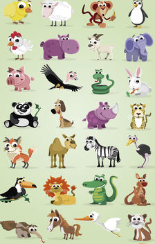 Cartoon domestic and wild animals pack - vector #180759 gratis
