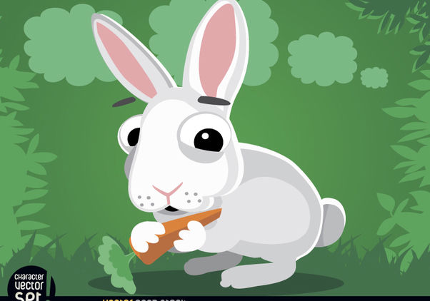Rabbit eating carrot cartoon animal - Free vector #180819