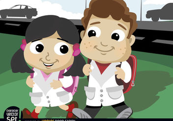 Cartoon boy and girl going to school - Free vector #180889