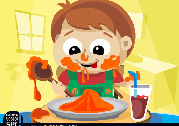 Child messy eating - vector gratuit #180909
