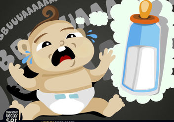 Hungry baby crying - vector gratuit #180919