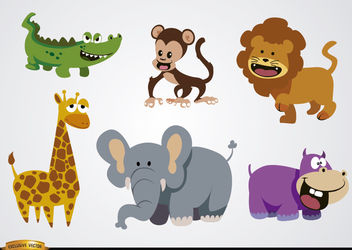 Funny cartoons wild animals - Free vector #180929