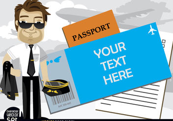 Airplane pilot beside text in passport - Free vector #180939