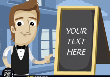 Waiter pointing menu board text - vector gratuit #180959