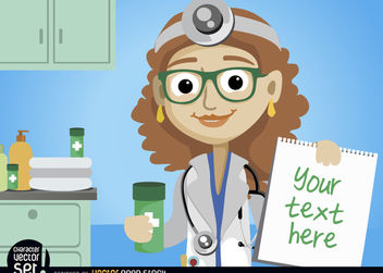 Doctor Woman with medicine and prescription - vector gratuit #180969