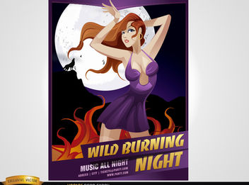 Night Party Girl Poster - Kostenloses vector #180979